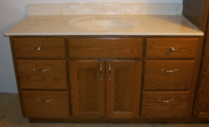 custom solid oak hardwood vanity with square flat panel