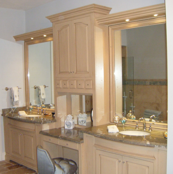 Solid Hardwood Master Bath With His Her Sinks Mirrored Back Square Raised Panel Doors