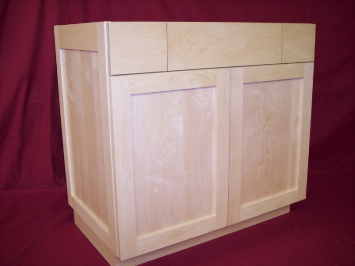 solid maple vanity with square flat panel doors slab
